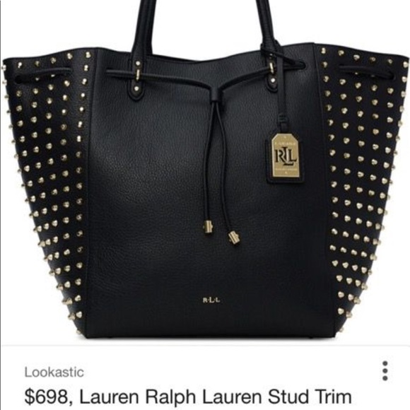 01e22b17177b ... canada ralph lauren leather tote gold studs. gently used ae1fb b70b5